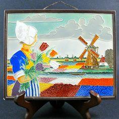 Vintage Dutch Westraven Cloisonné Relief Tile Tulips Windmill Dutch Girl