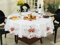 Toalha de Mesa Redonda - Rosalis Branco