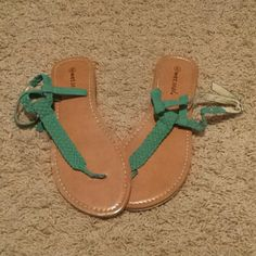 Teal color summer sandals! Teal colored summer sandals. Get a start for the season by getting this great wardrobe basic! Wet Seal Shoes Sandals