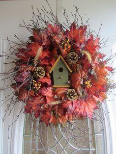 Fall Wreath - Autumn Wreath -Birdhouse Wreath - Twig Wreath. $57.95, via Etsy.