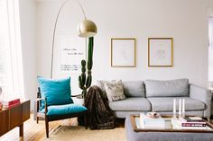 Inspired by her mother's eye for design and skill at finding home decor gems in alleys, Olivia has made her Pilsen loft an inspiring space. Her stunning prints of New York and LA were framed by  Framebridge, a website for framing inexpensively.