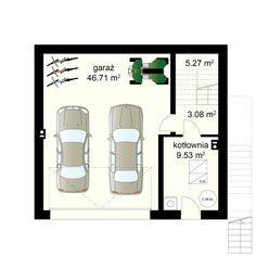 Dom na Stoku 5 T projekt - Piwnica 17.88 m² + garaż 46.71 m² Intj, Garden Design, Floor Plans, Landscape Designs, Floor Plan Drawing, House Floor Plans, Yard Design