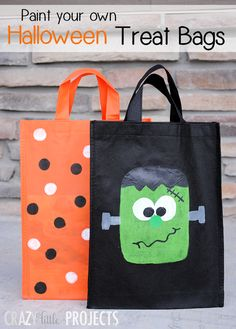 Kid's Craft: Paint Your Own Trick or Treat Bags by Crazy Little Projects