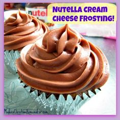 Meatless Monday: Nutella Cream Cheese Frosting Recipe ~ Best Frosting EVER! Meatless Monday: Nutella Cream Cheese Frosting Recipe ~ Best Frosting EVER! Icing Recipe, Frosting Recipes, Cupcake Recipes, Dessert Recipes, Nutella Cream Cheese, Nutella Frosting, Cream Frosting, Cupcakes, Cupcake Cakes