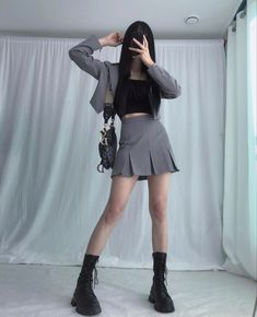 Kpop Outfits, Edgy Outfits, Korean Outfits, Cute Casual Outfits, Pretty Outfits, Korean Girl Fashion, Japanese Fashion, Cute Fashion, 90s Fashion