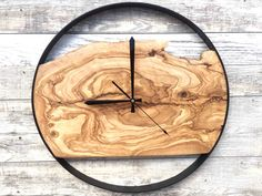 Large Wall Clock, Wood Wall Art, Wood Clock, Olive Wood Clock, Handmade Wood Clock, Wooden Wall Clock by WoodclockDesign on Etsy