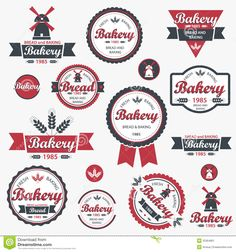 Vintage Retro Bakery Badges And Labels  Stock Image   Image  25364861
