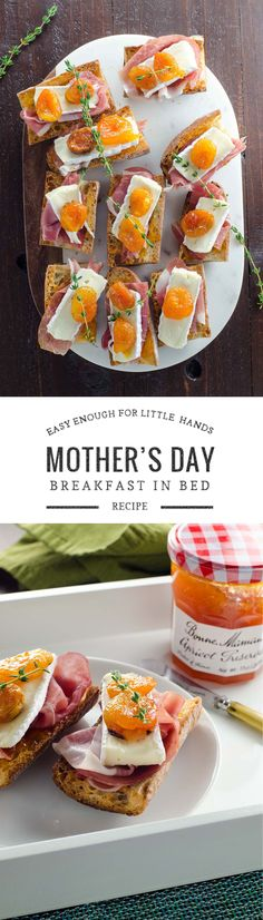 An easy but elegant breakfast in bed idea for Mother's Day. Also makes a great appetizer. Healthy Meal Prep, Healthy Breakfast Recipes, Brunch Recipes, Appetizer Recipes, Yummy Recipes, Gourmet Breakfast, Healthy Foods, Yummy Food, Mothers Day Breakfast