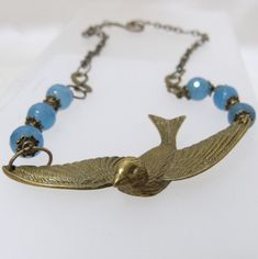 Bronze Bird Faceted Aquamarine Chain Necklace by tbyrddesigns, $39.00