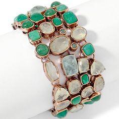 "Statements by Amy Kahn Russell Multigemstone Wide Bronze 7.5"" Bracelet K843 #StatementsbyAmyKahnRussell #Link"