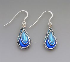 Earrings | Joy Funnell. Metal Clay.  Sapphire Nouveau, fine silver and enamel earrings with sterling silver earwires