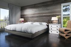Grey Barn Siding Headboard Wall Reclaimed Wood Paneling, Wood Plank Walls, Wood Wall, Weathered Wood, Wood Bedroom, Bedroom Bed, Bedroom Decor, Master Bedroom, Bedroom Ideas