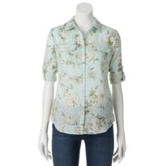 Croft & Barrow® Floral Slubbed Roll-Tab Shirt - Women's