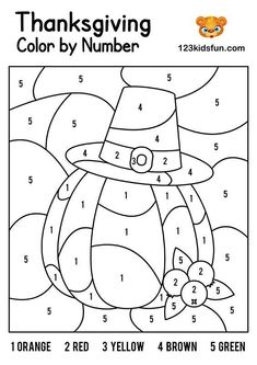 FREE thanksgiving Color by Number Coloring Pages for Kids Printable. Kids learning color and numbers. Best activities for Toddlers and preschoolers. Thanksgiving Coloring Sheets, Fall Coloring Sheets, Fall Coloring Pages, Halloween Coloring Pages, Coloring Books, Alphabet Coloring, Coloring For Kids, Free Coloring, Adult Coloring
