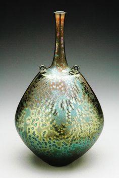 宮村 秀明 「vase with two rings green crystalline glaze」 陶磁器