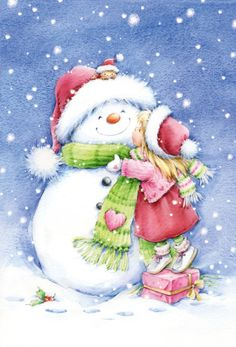 a kiss for Frosty Christmas Scenes, Christmas Pictures, Christmas Snowman, All Things Christmas, Vintage Christmas, Christmas Holidays, Christmas Crafts, Merry Christmas, Christmas Decorations
