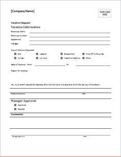 employees can use this free printable vacation request template to