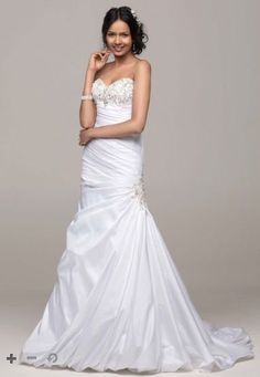 It's literally perfect! Trumpet style, with side embellishment, and a little bling! I love it! http://www.davidsbridal.com/Product_petite-sweetheart-trumpet-wedding-gown-7v3476_wedding-dresses-all-wedding-dresses