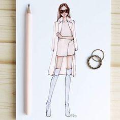 Style of Brush by Gizem Kazancıgil gizem kazancigil – Gizem Kazancıgil – Join in the world of pin Dress Design Sketches, Fashion Design Sketchbook, Fashion Design Drawings, Fashion Sketches, Drawing Sketches, Drawing Style, Dress Designs, Fashion Drawing Dresses, Fashion Illustration Dresses