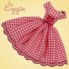 Cherry Check - Vintage Barbie Doll Dress Reproduction Repro Barbie Clothes