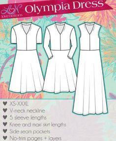Shawl collar dress sewing pattern by Love Notions. Sewing Clothes, Diy Clothes, Dress Sewing Patterns, Sewing Notions, Collar Dress, Free Sewing, Olympia, Dressmaking, Pattern Fashion