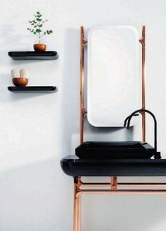 decorating ideas, black white bathroom, copper sink, French interiors, stand alone sink