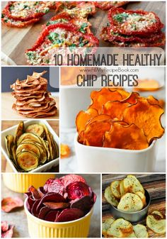 10 Homemade Healthy Chip Recipes - Fill My Recipe Book 10 homemade healthy chip recipes, wow go crazy bake or dry and season them with what you wish. Herbs are good. Zucchini Chips, Baked Carrot Chips, Cinnamon Apple Chips, Baked Veggie Chips, Chip Seasoning, Vino Y Chocolate, Homemade Chips, Snacks Homemade, Homemade Recipe