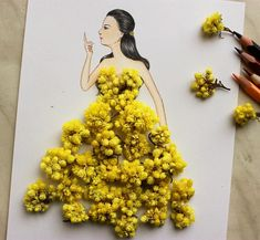 Armenian fashion illustrator Edgar Artis uses stylized paper cut outs and everyday objects to create beautiful dresses. His creative fashion sketches include such items as rose petals, various plants and food, even buildings. He's not the first to explore this idea - previously we wrote about an architect and fashion illustrator Shamekh Bluwi, who also used various everyday objects to complete his fashion dresses.