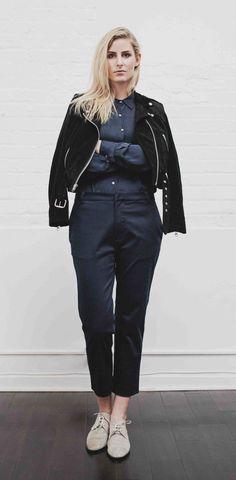 Fall Lookbook | La Boutique, l'Art et la Mode  - LAER leather jacket  - 6 3 9 7 navy silk blouse and trouser  - Freda Salvador STRUT  Stylist: Colton Dixon Winger  Photographer: Sylvia Krzysztofek Model: Sophie Hoover