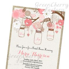 Coral & Pink Bridal Shower Invitation - Mason Jars Invitation - Burlap - Spring Summer Baby Shower Birthday Printable No.430. $18.00, via Etsy.