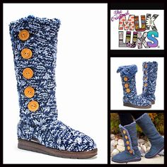 "Tall Crochet Boots Shearling Lined Boot NEW WITH TAGS RETAIL PRICE: $78  Tall Crochet Boots Shearling Lined Boot  * Pull On style & shaft button detail  * Faux shearing lining  * Round Toe & allover speckle knit  * Soft & cozy lining and water resistant rubber sole   * 15"" high shaft & about a 15"" circumstance  Fabric: Upper knit fabric & faux shearing lining Color: Blue Item:  No Trades ✅ Offers Considered*✅ *Please use the blue 'offer' button to submit an offer. Muk Luks  Shoes Winter…"