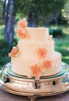 Brides.com: 32 of the Prettiest Floral Wedding Cakes. Buttercream frosted wedding cake with pink sugar flowers, by Jackson Cake Company.  See more classic wedding cakes.