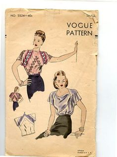 1940s Blouse Vogue Sewing Pattern