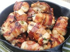 Bacon-Wrapped Jalapeno Chicken Bites: Another yummy and not too difficult dinner tonight! Chicken Bites, Chicken Wraps, Chicken Tenders, Chicken Poppers, Chicken Breasts, Chicken Snacks, Chicken Tenderloins, Chicken Thighs, Stuffed Jalapenos With Bacon