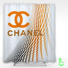 Cheap Chanel Orange Curved Point Shower Curtain