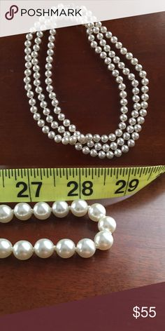 Long faux pearl necklace Faux pearl necklace, long so can wrap once or twice, great condition, very 1920s, no trades but feel free to send an offer Jewelry Necklaces