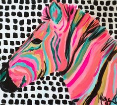 I like any animal art and these colorful animal portraits are fascinating. Painting Inspiration, Art Inspo, Gouache Painting, Zebra Painting, Photo Wall Collage, Art Store, Art Plastique, Animal Paintings, Pop Art