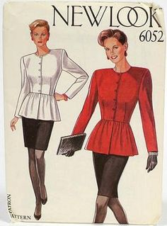 New Look 1980s sewing pattern for Ladies peplum top with shoulder pads & fitted pencil skirt