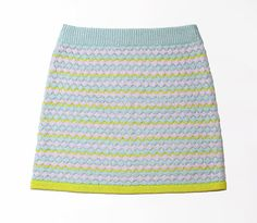 Knitted pastel yellow short A-line skirt // Hand machine knit // For her