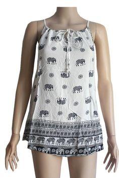 9dcf54c628 Women s Elephant Printed Peasant Top Black White  S