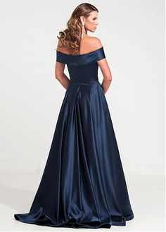 Graceful Satin Off-the-shoulder Neckline A-line Military Ball Gown Dresses