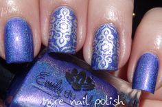"""""""Anywhere but here"""" [a wisteria purple with a metallic sheen and linear holo] made by 'Emily de Molly'(Oct-2015-Rel) used as the base & worn w' 'Messy Mansion' silver stamping polish - Nail-Art by 'More Nail Polish' ♥≻★≺♥"""