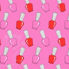 Nail polish print design/illustration inspired by sixties patterns, created for university cushion design project. By Hannah West