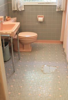 Can we help EarthaKitsch find tile to fill in the gap in her pink and gray bathroom floor? - Retro Renovation