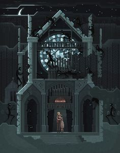 """Maybe we should go back..."" Pixel Art illustration by Octavi Navarro.  http://pixelshuh.tumblr.com #pixelart #videogames"
