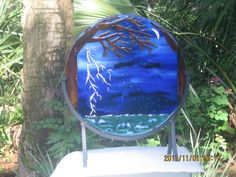 SOLIEL Art glass fused glass stained glass home decor of lightening thunderstorm over ocean with silver moon