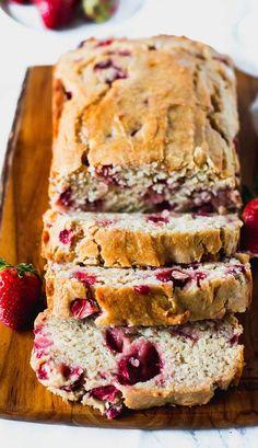 Strawberry Banana Bread. Gluten free. Gluten free baking. Dairy free. Vegan cooking. Sweet gluten free dessert.