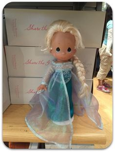 Anna and Elsa's Boutique - Precious Moments Doll - Elsa - Located in Downtown Disney District at the #Disneyland Resort - #Frozen - more pictures on the blog.