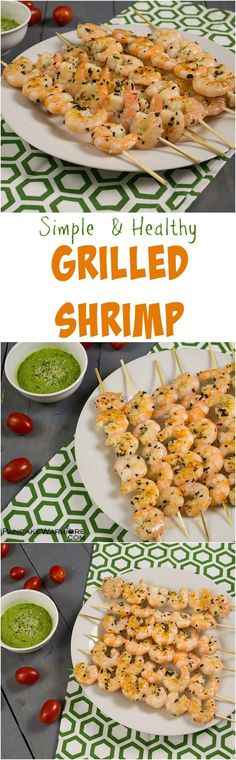Try this easy grilled shrimp recipe at your next cookout! Everyone will devour these! Easy pesto dipping sauce that's dairy free and low fat as well! Paleo, gluten free, low fat, whole30 approved!