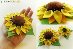 Handmade Large Sunflower felt brooch, handcrafted yellow brooch Flower for dresses, belt, hat, bag and etc. via Etsy